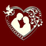 Inside the silhouette hearts couple Royalty Free Stock Image