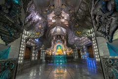 Inside the silver chapel in Wat Sri Suphan temple, the famous tourist attraction in Chiang Mai, Thailand Stock Photo