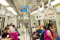 Singapore metro train handrail. Inside the Singapore metro train. Focus on a handrail stock photo