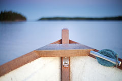 Inside of small boat on the lake Royalty Free Stock Image