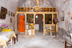 Inside a small greek orthodox chapel on the trail on Gavdos Royalty Free Stock Photos
