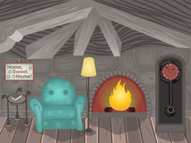 Inside a small room. Cartoon vector illustration of a small Gothic room in the attic Royalty Free Stock Images