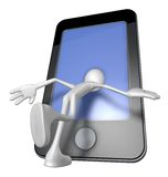 Inside a smartphone. White guy with head inside a smartphone - 3d illustration Royalty Free Stock Image