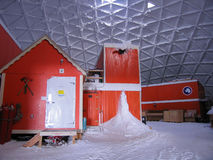 Inside the South Pole Dome. The buildings inside The Dome at the South Pole, Antarctica. The second station at the South Pole was known as The Dome. It was built stock image