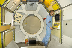 Inside of Spacelab - orbital research laboratory. Spacelab was a full reusable orbital research laboratory. The Spacelab unit is a full pressurized compartment Royalty Free Stock Photography