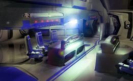 Inside spaceship. Pilots room inside futuristic spaceship or space spation Royalty Free Stock Photo