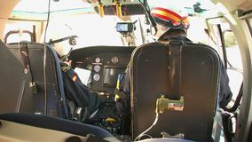 Inside of a Spanish customs helicopter. Eurocopter AS-365N-3 Dauphin 2 of the Spanish Customs before takeoff, on october 10, 2016 in San Javier stock footage