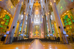 Inside spectacular Barcelona church La Sagrada Stock Photos