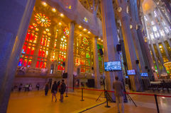 Inside spectacular Barcelona church La Sagrada Royalty Free Stock Photo