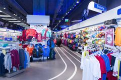 Inside of a sport dedicated shop Royalty Free Stock Image