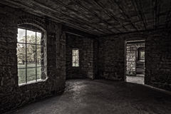 Inside Squire's Castle. View from inside looking out at Squire's Castle.  Squire's Castle was built in the 1890s by Feargus B. Squire for use as the gatekeeper's Royalty Free Stock Images