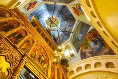 009 - Inside St. Basil`s Cathedral view of red square stock images