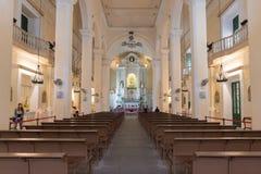 Inside of St. Dominic (Domingos) church. Largo do Senado in Macau Royalty Free Stock Image