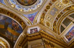 Inside St. Isaac`s Cathedral or St. Isaac`s Cathedral Museum in St. Petersburg royalty free stock image