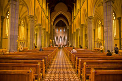 Inside of the St Patricks Cathedral. Inside St Patricks Cathedral Melbourne Victorla Australia with sunlight falling in from the side Stock Photo
