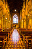 Inside of the St Patricks Cathedral. Inside St Patricks Cathedral Melbourne Victorla Australia with sunlight falling in from the side Royalty Free Stock Photo