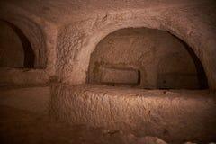 Inside the St. Pauls Catacombs at Rabat, Malta stock photography