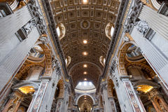 Inside of St. Peter Basilica in Vatican City. stock photography