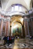 Inside st. Peter cathedral - Vatican. Inside st. Peter cathedral - People and tourists stroll at Historical place old Rome Italy 20 may 2016 Stock Photography
