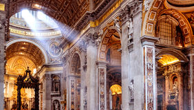 Inside the St. Peter's Basilica in Rome Stock Photos