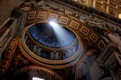 Inside St. Peter`s Basilica, Vatican City, Rome royalty free stock images