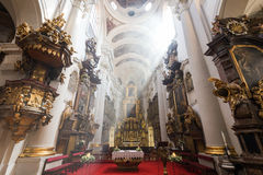 Inside the St. Thomas` Church in Prague. Inside the Church of St. Thomas Kostel sv. Tomase. It`s an Augustinian church in Prague, Czech Republic Stock Photography