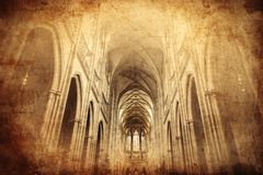 Inside of St. Vitus Cathedral in Prague royalty free stock photo