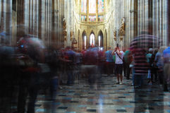 Inside St Vitus Cathedral. Prague. Photographer is shooting Royalty Free Stock Photo