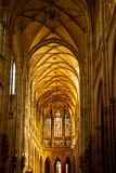 Inside of St Vitus Cathedral, in Prague stock images