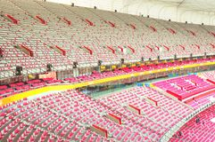 Inside of stadium bird nest Royalty Free Stock Photos