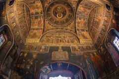 Inside Stavropoleos monastery, Bucharest, Romania Royalty Free Stock Photo