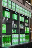 Inside the Steam Whistle brewing company in Toronto Canada displaying its products royalty free stock image