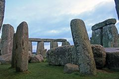 Inside Stonehenge. A glimpse of the interior of Stonehenge in the morning stock photography