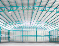 Inside of structure empty warehouse use for industry background Royalty Free Stock Photos