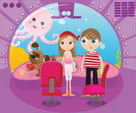 Inside submarine boat. Two kids looking from their submarine boat at the giant octopus Royalty Free Stock Image
