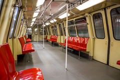Inside of subway car. Inside of old subway car in Bucharest Stock Photos