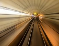 Inside a subway tube or tracks Royalty Free Stock Photo