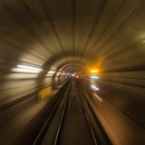 Inside a subway tube or tracks Royalty Free Stock Photography
