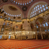 Inside of Suleymaniye Mosque Royalty Free Stock Photo