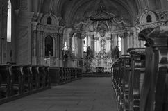 Inside of Sumuleu Church, Monochrome Stock Photo