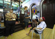 Inside the synagogue. Inside of the synagogue Ghriba in Tunisia some men pray stock photography