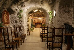 Inside the Sziklatemplon (Cave Church) - Budapest, Hungary Stock Images