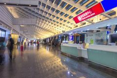 Inside of Taoyuan Airport, Taipei, Taiwan. Taoyuan was the 11th busiest airport worldwide in terms of international passenger numb. TAIPEI, TAIWAN - OCT09, 2016 royalty free stock photography