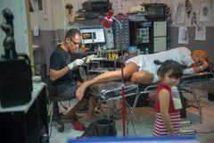 Inside tattoo studio in Karon, Thailand stock image