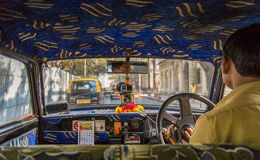 Inside taxi Stock Photo