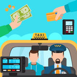 Inside taxi, payment methods Stock Images