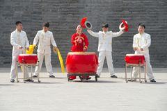 Team of chinese drummers making music in perfection, Xi'an, China