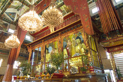 Inside the temple. Inside the modern Buddhist temple in hong kong stock photos