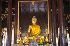 Inside of temple with golden Buddhas. Chiang Mai, Thailand Royalty Free Stock Photography