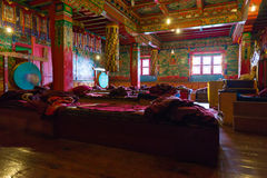 Inside Tengboche buddhist monastery temple. Nepal. Royalty Free Stock Photography